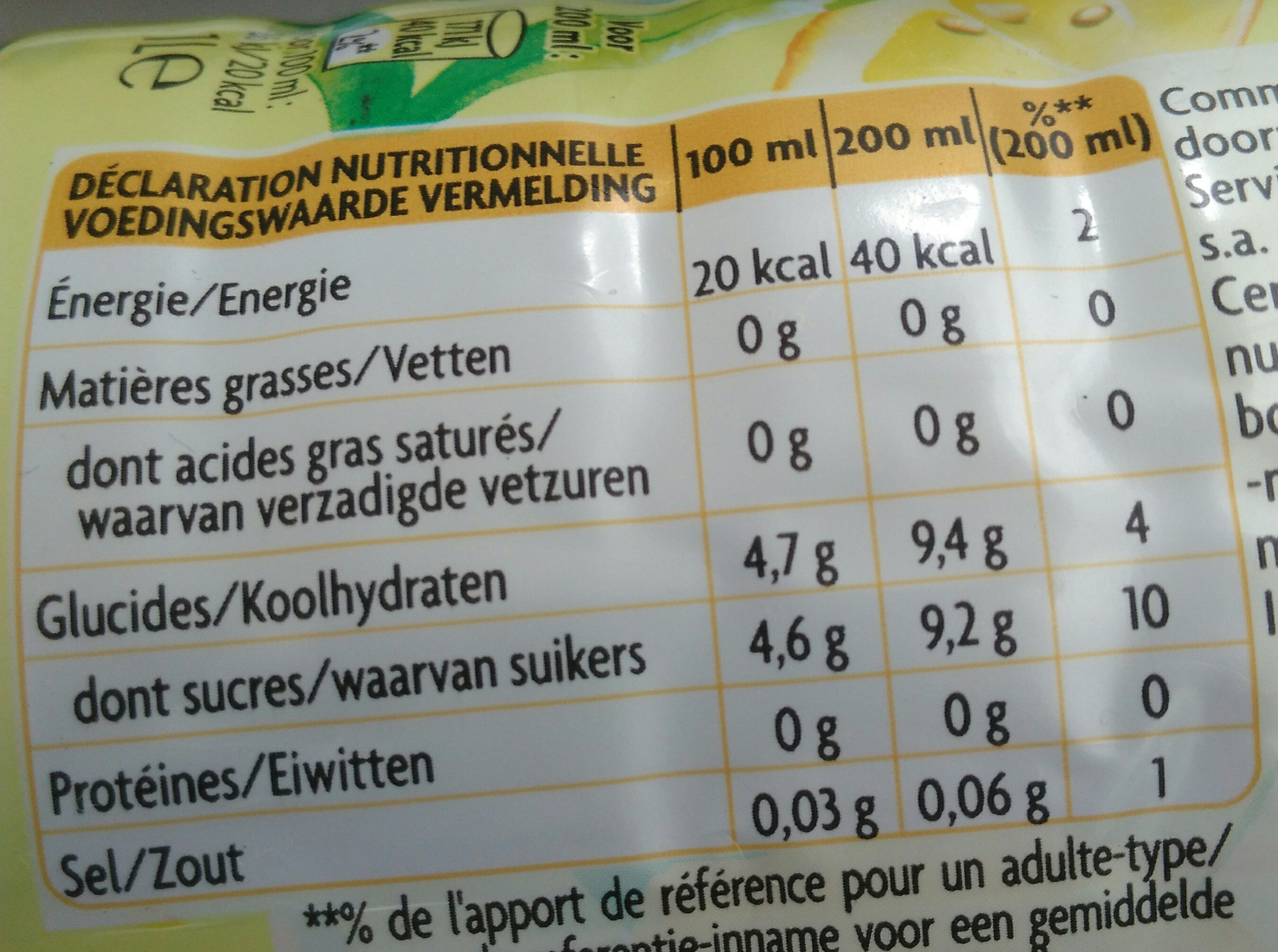 Thé infusé glacé - Nutrition facts - fr
