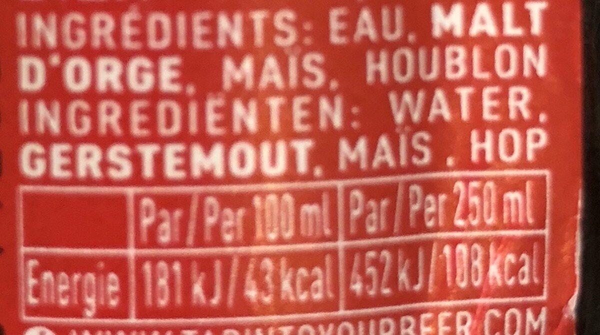 Jupiler - Ingredients - fr