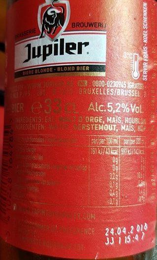 Bière Jupiler (5,2° - 33CL. ) - Ingrediënten - fr