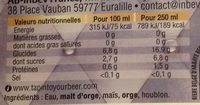 Rituel 9° - Nutrition facts