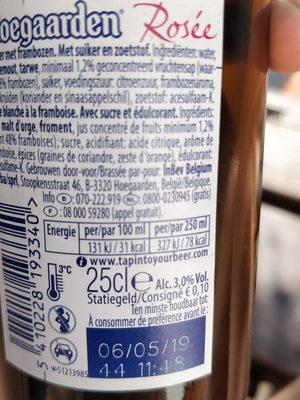 Hoegaarden Rosée - Voedingswaarden - fr