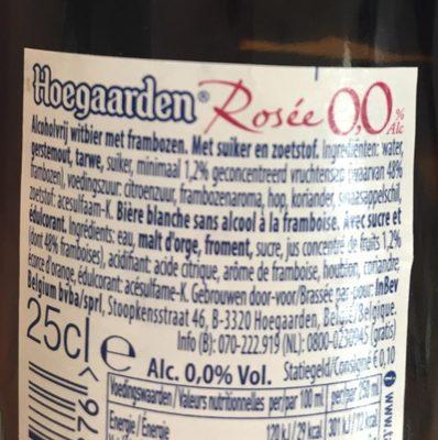 Hoegaarden rosé 0% - Ingrédients - fr