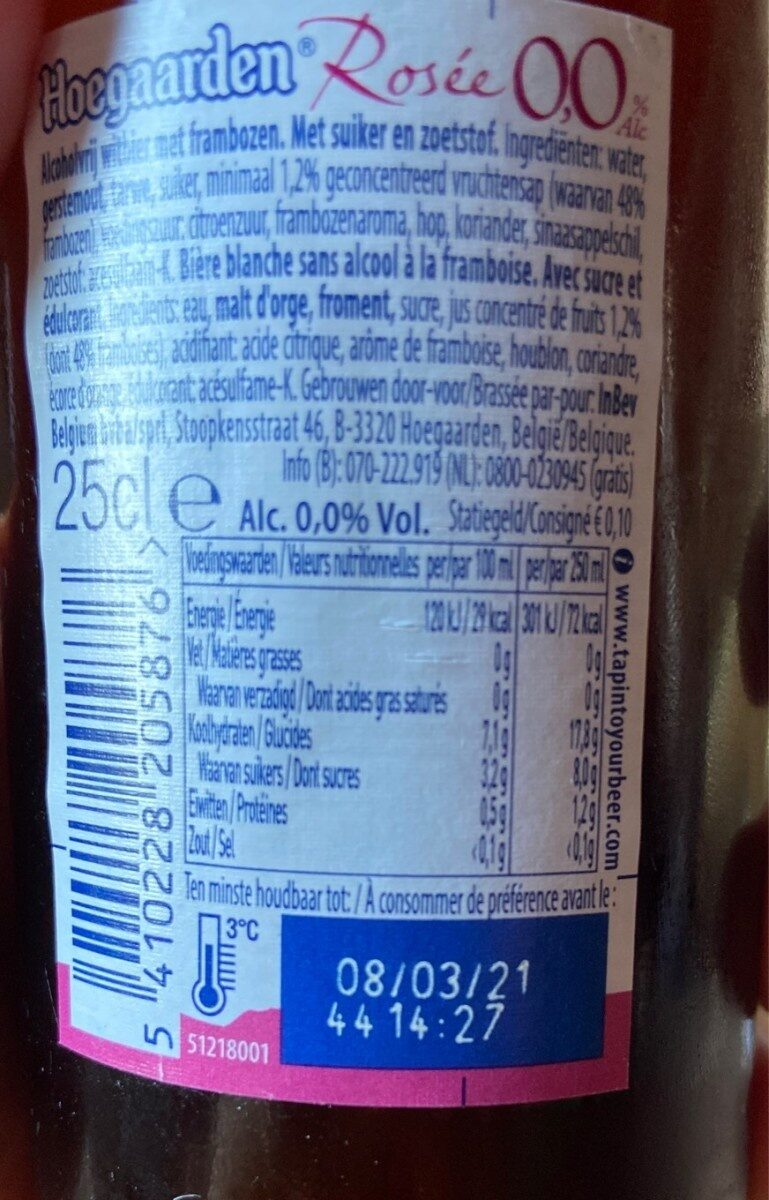 Hoegaarden rosé 0% - Informations nutritionnelles - fr