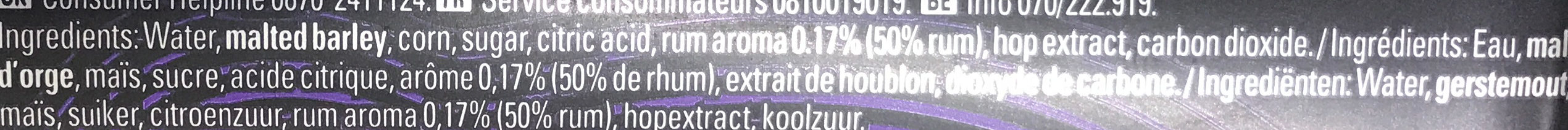 Bière Aromatisé au Rhum - Ingrediënten - fr