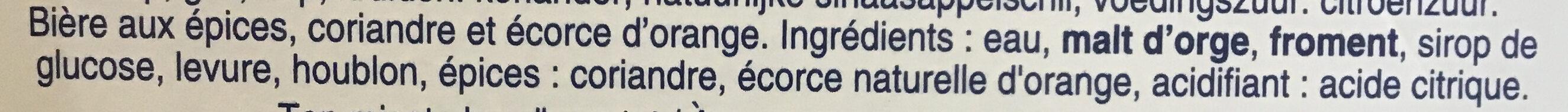 Bière blanche - Ingredients - fr