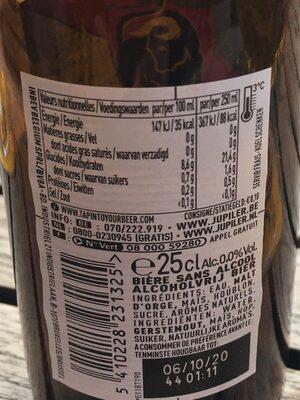 Jupiler 0,0% 25 CL Fles - Voedingswaarden