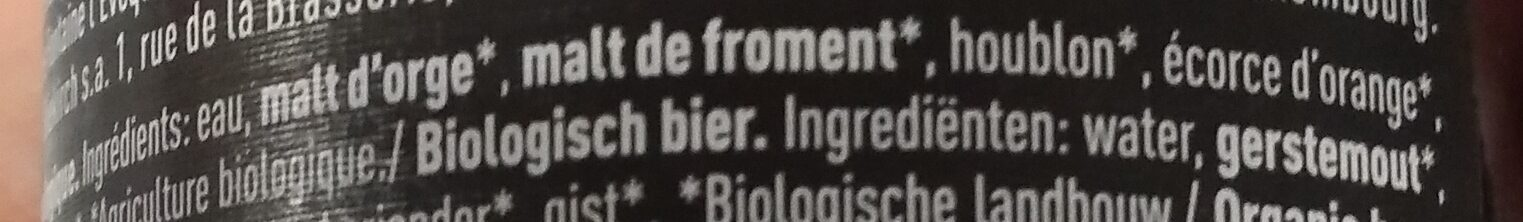 Belgican bio beer - Ingredients - fr