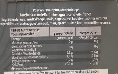 Leffe blonde 0% - Valori nutrizionali - fr