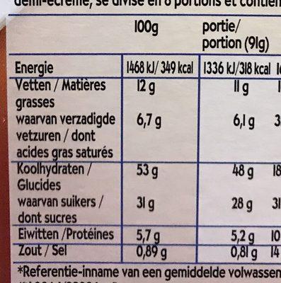 Cake Cœur de Nuage Marbré - Voedingswaarden