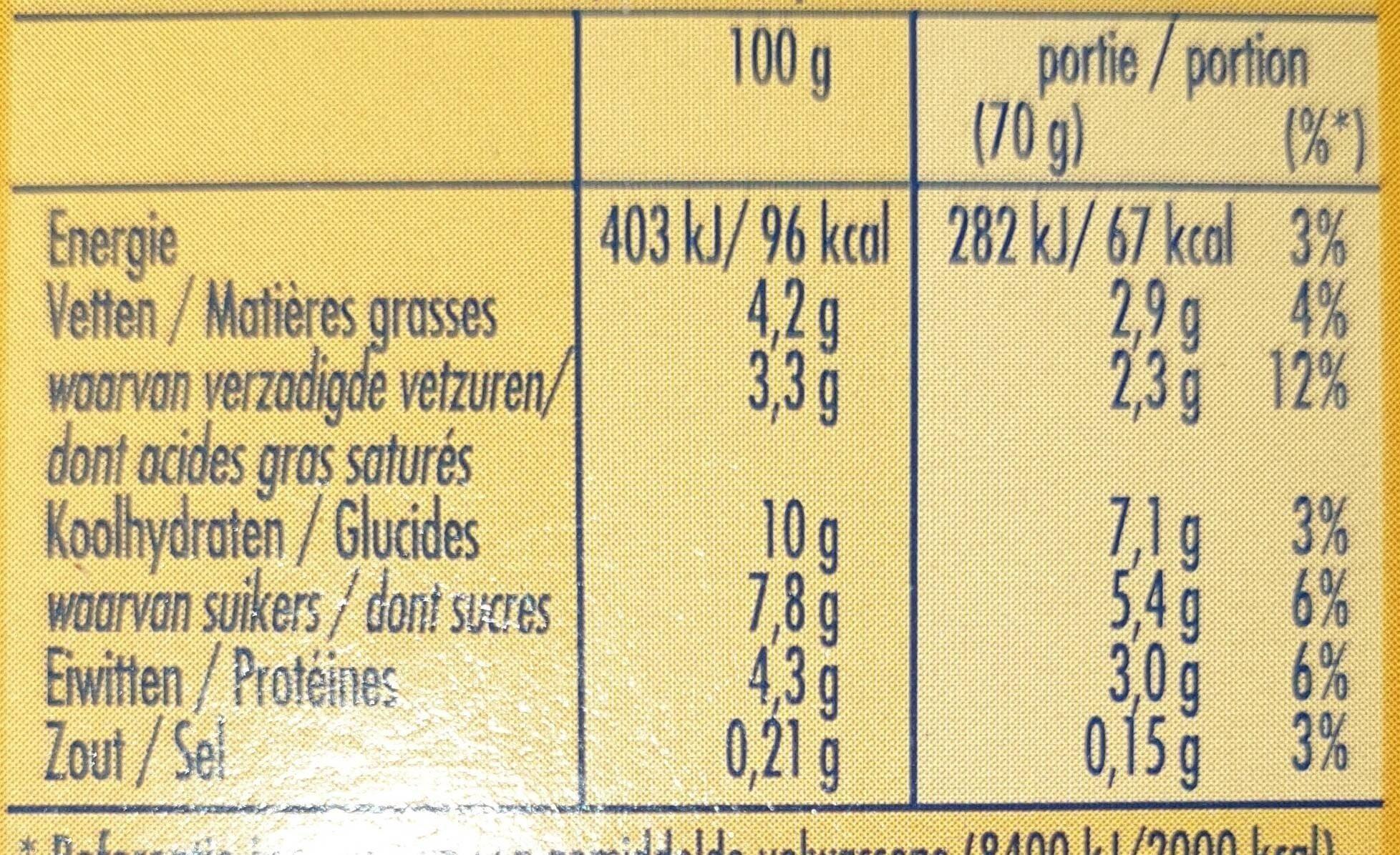 Mousse vanille light - Voedingswaarden