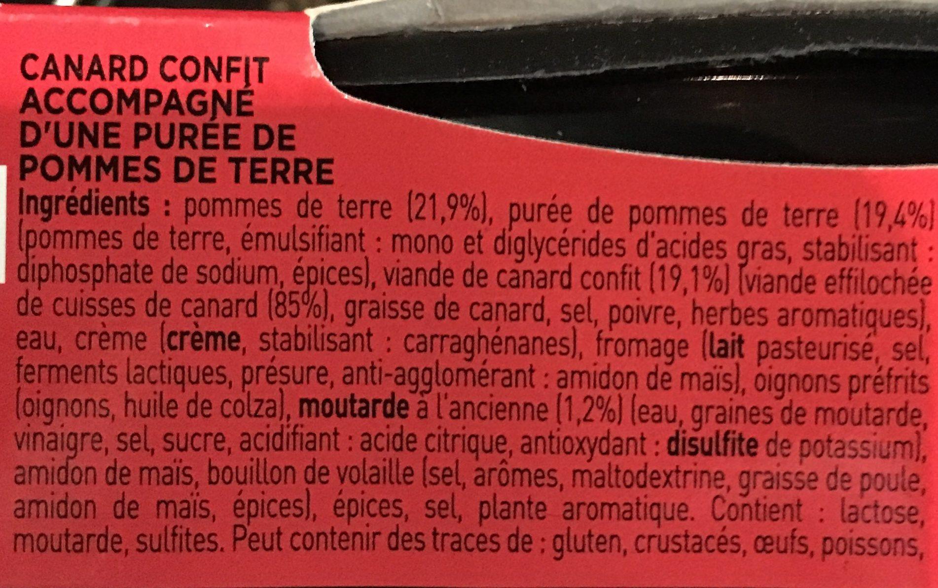 Parmentier de canard confit - Ingrédients - fr