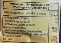 Cassonade Graeffe - Nutrition facts - fr