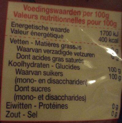 Sucre perlée - Informations nutritionnelles