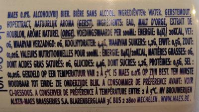 Maes 0.0% - Ingredients - fr