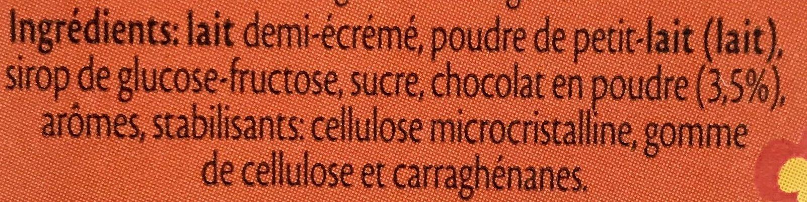 Lait Chocolaté Demi-écrémé - Ingrédients