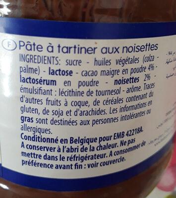 Pate a tartiner aux noisettes - Ingrédients - fr