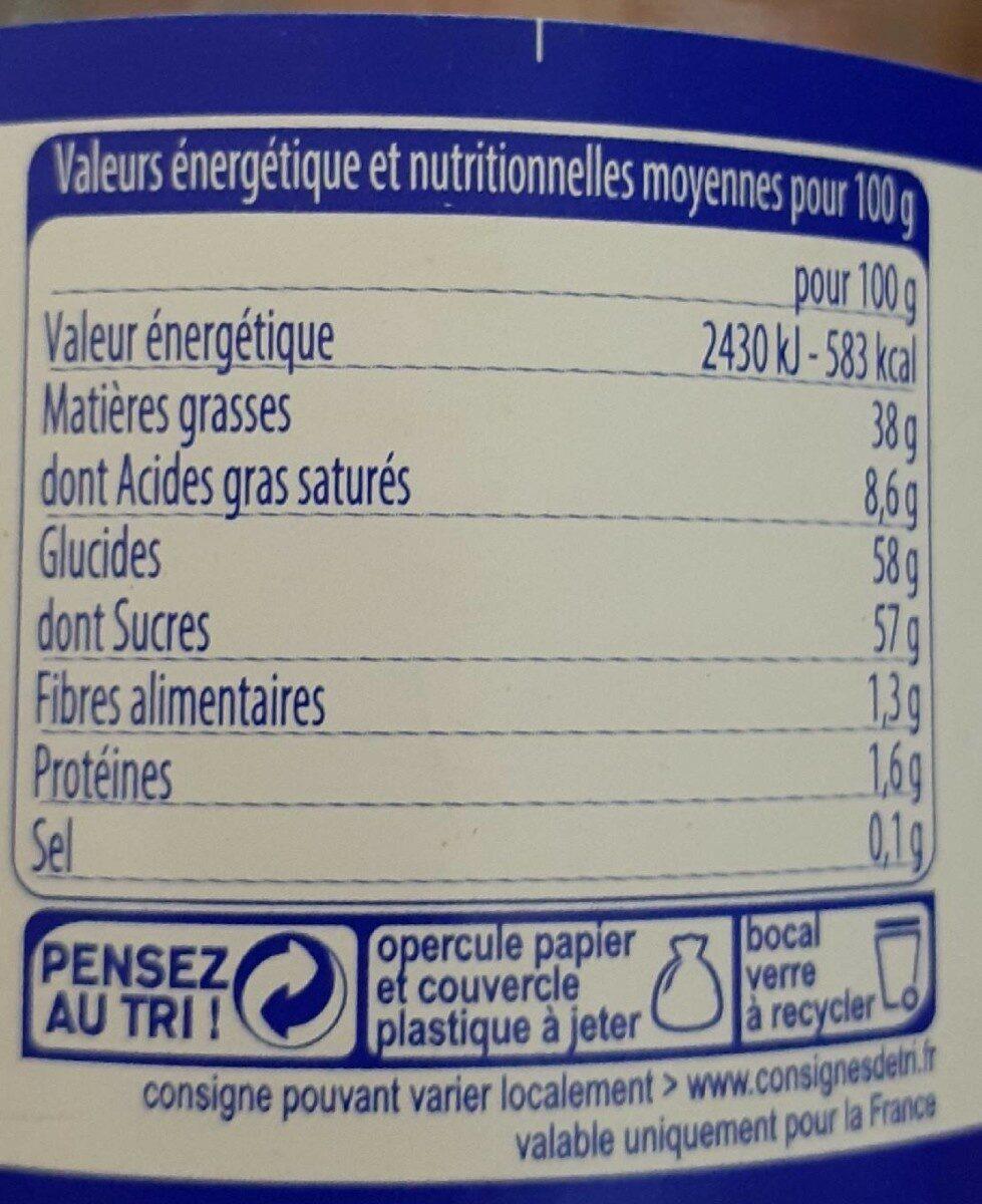 Pate a tartiner aux noisettes - Informations nutritionnelles - fr