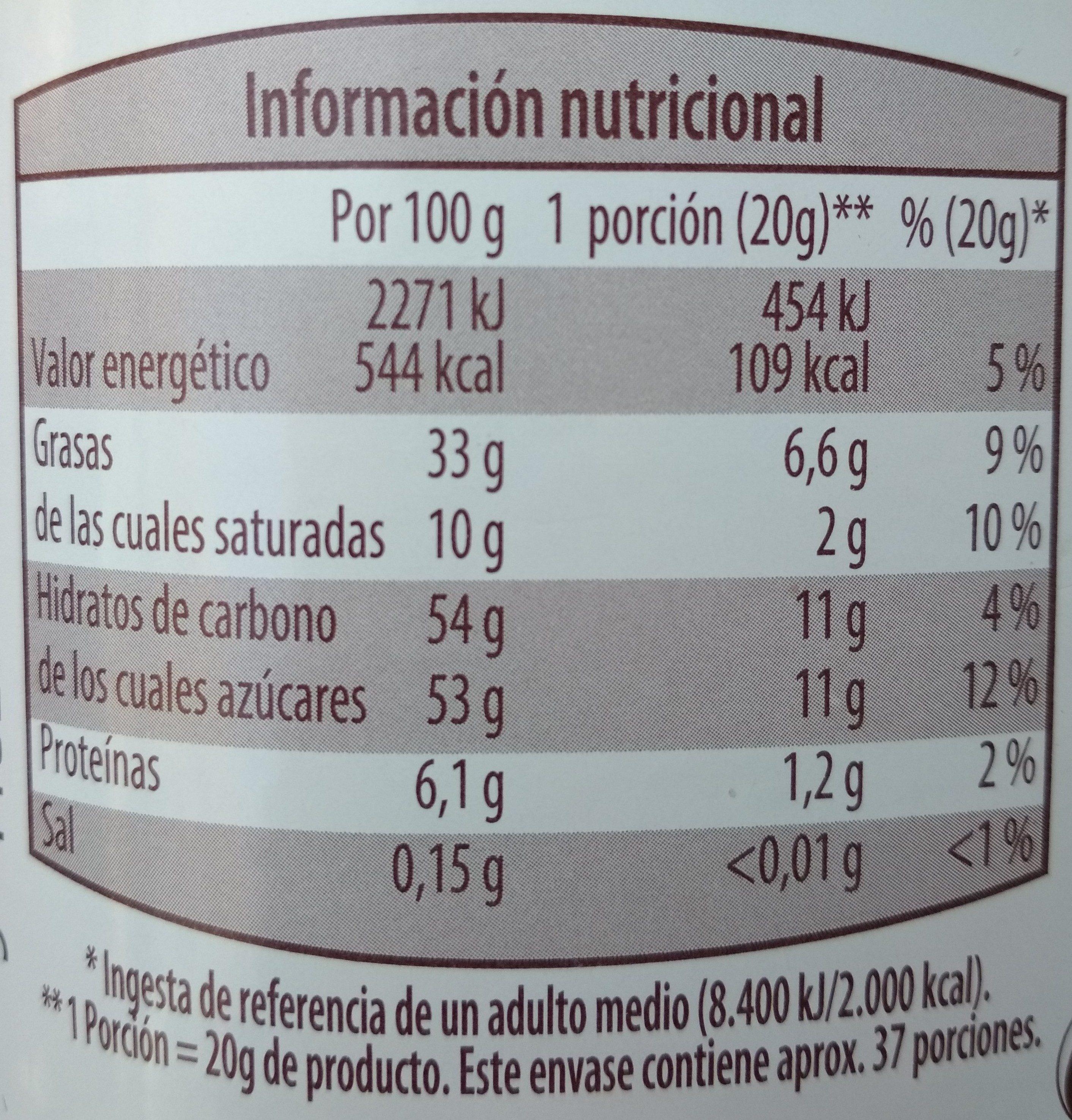 Crema de cacao y avellanas - Información nutricional - es