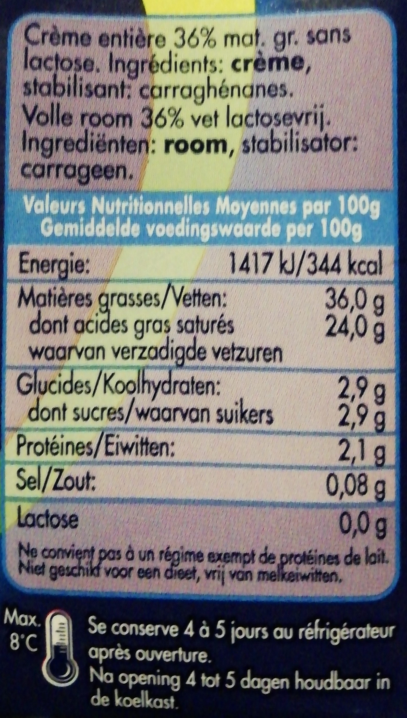 Dilea Z. lact. creme 36% - Voedingswaarden - fr