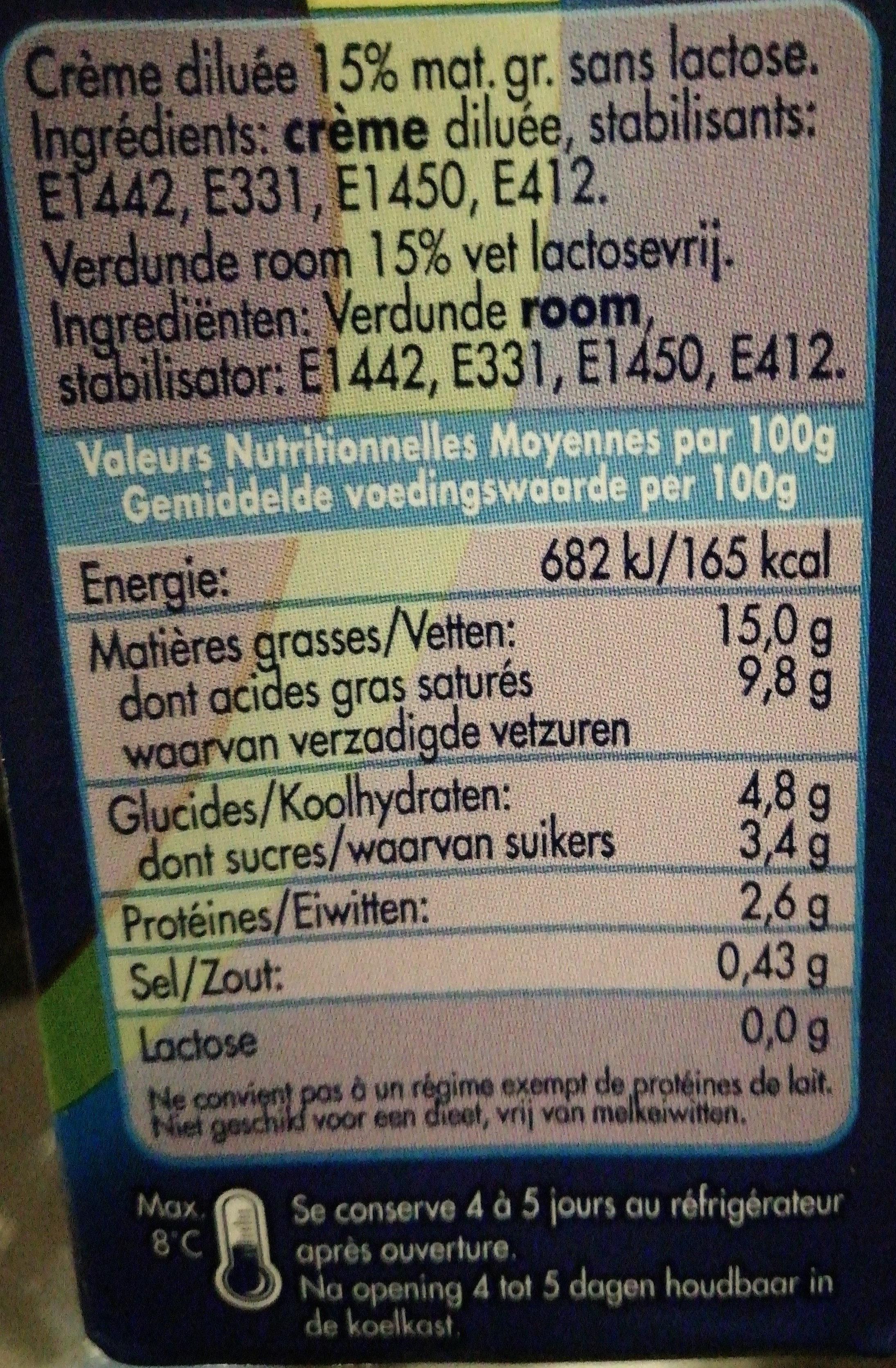 Dilea zero lactose Crème 15% Licht - Informations nutritionnelles
