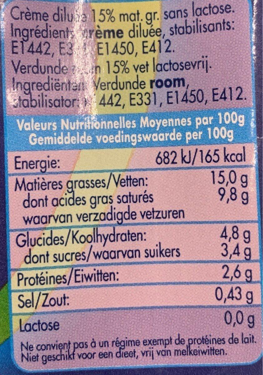 Dilea Z. lact Creme 15% - Informations nutritionnelles - fr