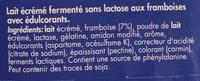 Zero Lactose Framboise - Ingrediënten