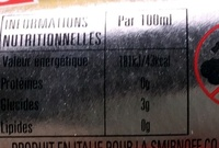 Ice - Informations nutritionnelles