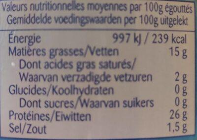 Thon à l huile d olive - Informations nutritionnelles - fr