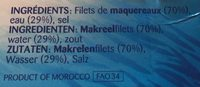 Filets de maquereau au naturel - Ingrediënten