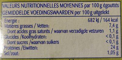 Thon sauvage à l'huile d'olive - Informations nutritionnelles - fr