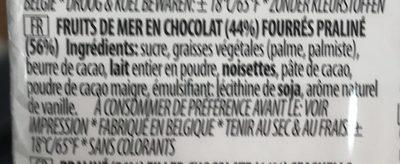 Fruits de mer en chocolat fourrés praliné - Ingrediënten - fr