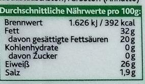 Original Irischer Cheddar Herzhaft - Informations nutritionnelles