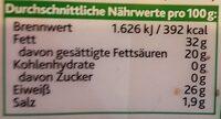 Original Irischer Cheddar Herzhaft - Kerrygold - 150 G - Informations nutritionnelles - de