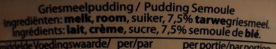 Pudding semoule - Ingredienti - fr
