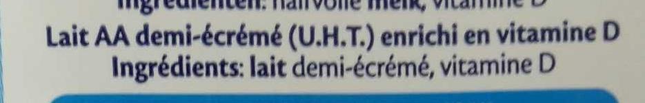 Lait AA demi-écrémé - Ingrédients - fr