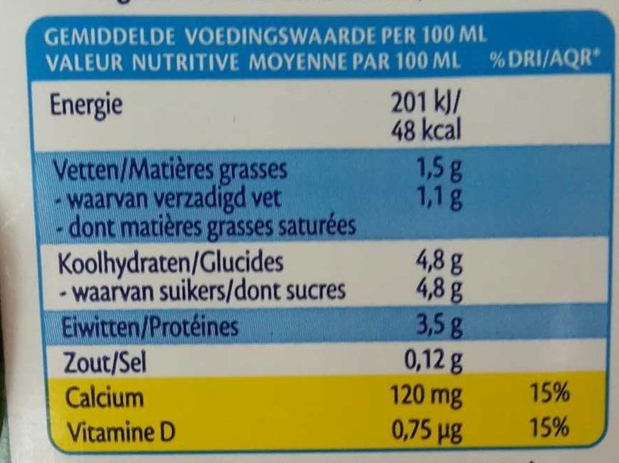 Lait AA demi-écrémé - Informations nutritionnelles - fr