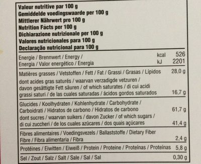 Desobry the belgian buiscuitier - Informations nutritionnelles