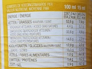 Sauce Brazil La William - Nutrition facts - fr