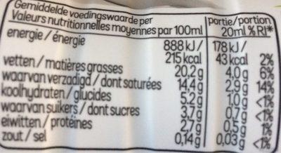 Crème Culinaire Légère - Voedigswaarden