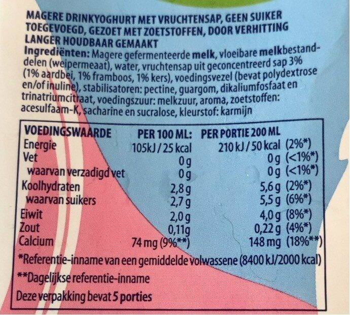 Fristi - Voedingswaarden - nl