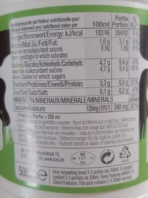 Lait demi écrémé - Nutrition facts - fr