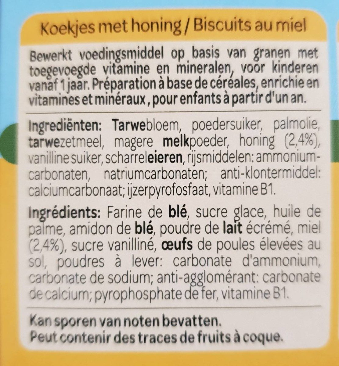 Biscuits nounours au miel - Ingredients - fr