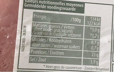 Original Jambon à l'Os supérieur - Voedingswaarden - fr
