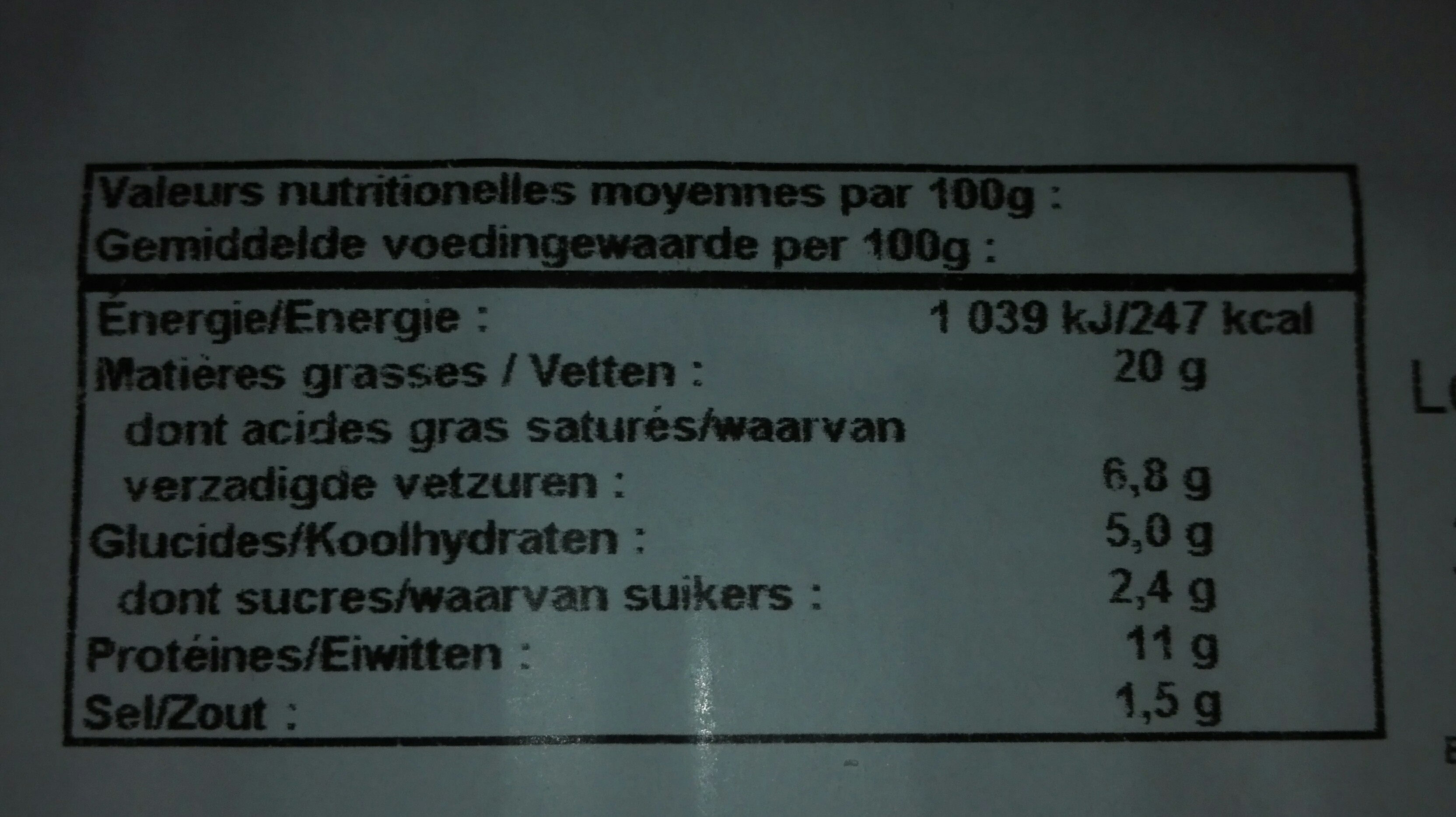 Boudin blanc fines herbes - Voedingswaarden - fr