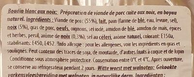 Boudin blanc noix - Ingrediënten