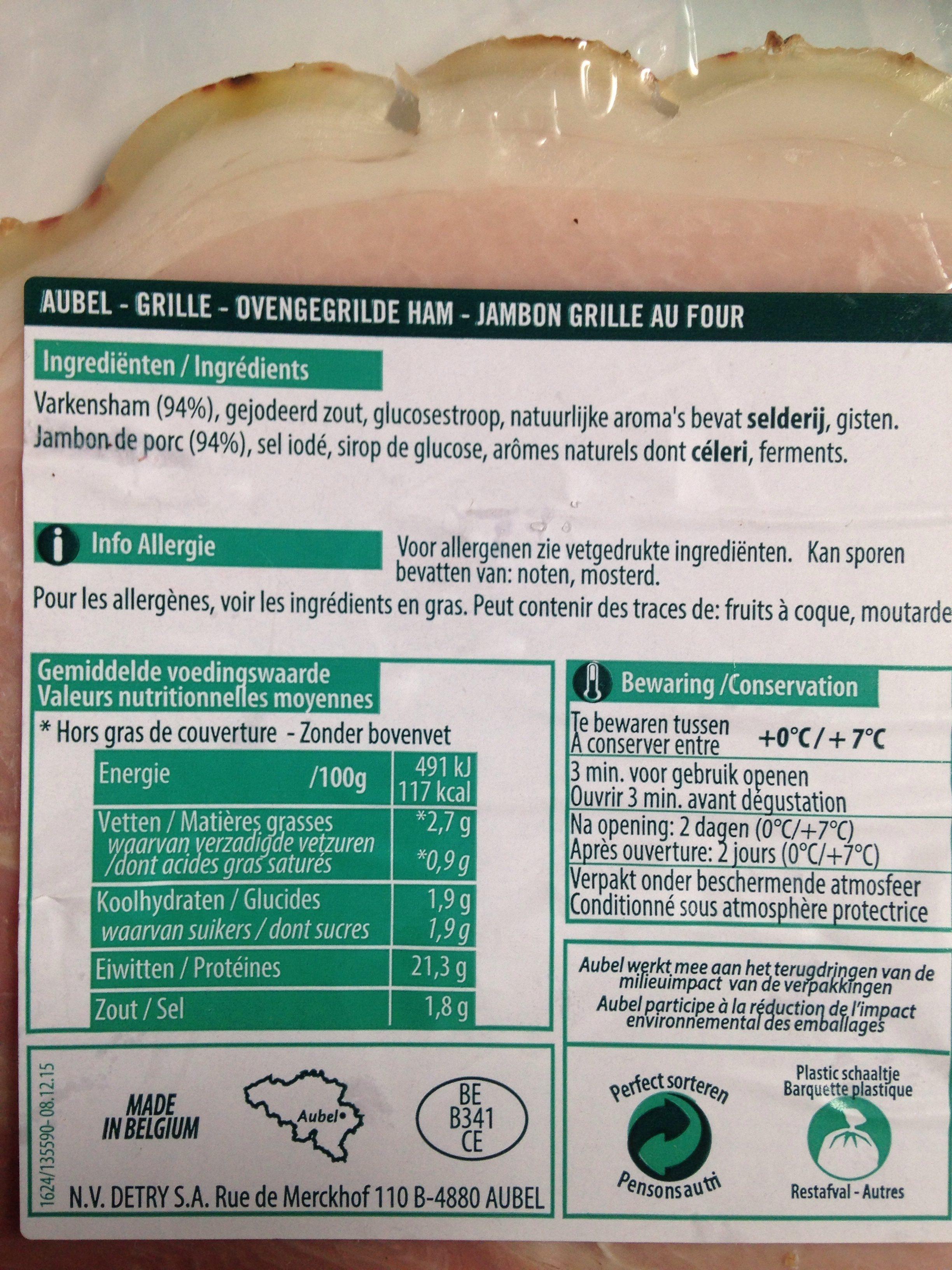 Jambon cuit grille - Ingrédients - fr