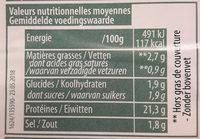 Jambon cuit grille - Informations nutritionnelles - fr
