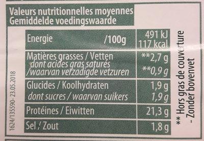 Jambon cuit grille - Informations nutritionnelles