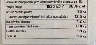 Roompate - Voedingswaarden - fr