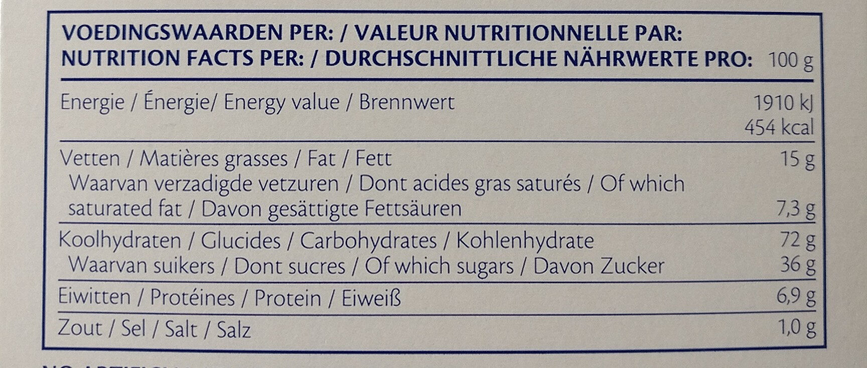 Jules Destrooper Almond Thins 75 Grams - Voedingswaarden - fr